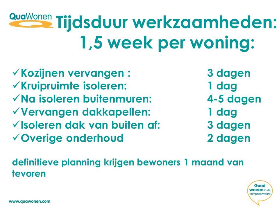 Tijdsduur werkzaamheden: 1,5 week per woning: Kozijnen vervangen :3 dagen Kruipruimte isoleren: 1 dag Na isoleren buitenmuren:4-5 dagen Vervangen dakk