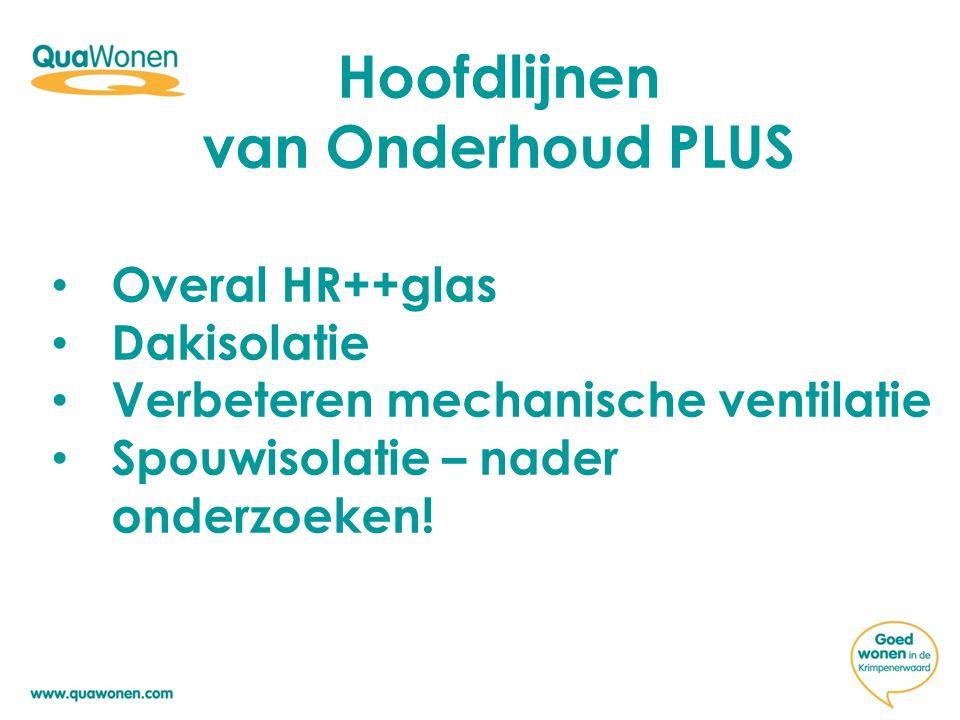 Hoofdlijnen van Onderhoud PLUS Overal HR++glas Dakisolatie Verbeteren mechanische ventilatie Spouwisolatie – nader onderzoeken!