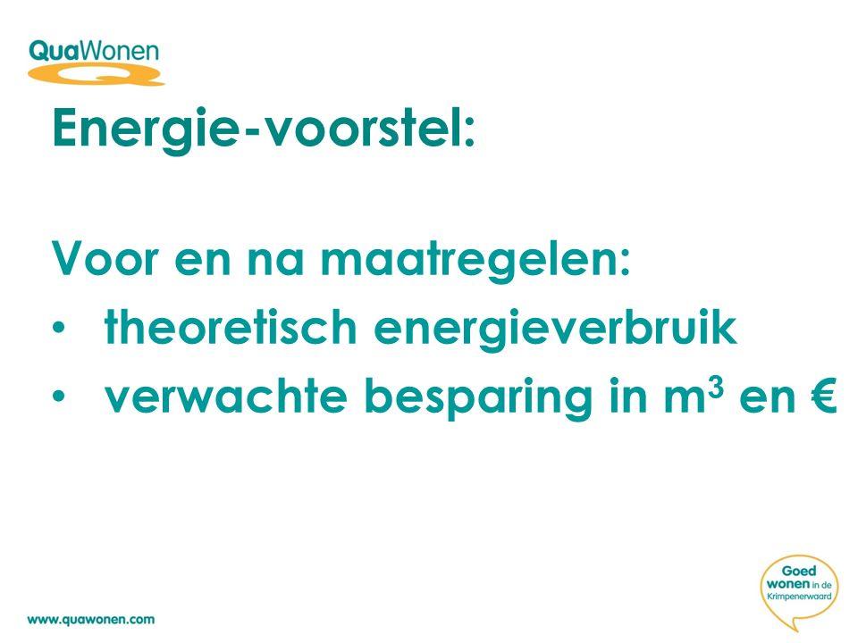 Voor en na maatregelen: theoretisch energieverbruik verwachte besparing in m 3 en € Energie-voorstel: