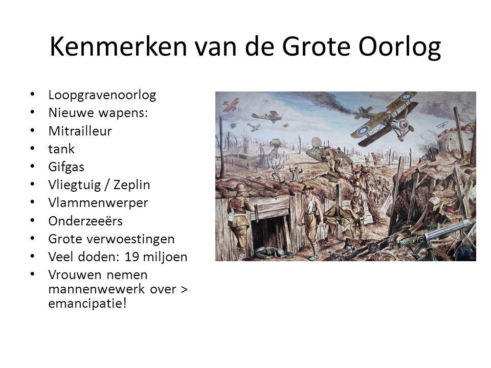 Kenmerken van de Grote Oorlog Loopgravenoorlog Nieuwe wapens: Mitrailleur tank Gifgas Vliegtuig / Zeplin Vlammenwerper Onderzeeërs Grote verwoestingen