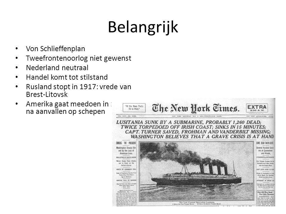 Belangrijk Von Schlieffenplan Tweefrontenoorlog niet gewenst Nederland neutraal Handel komt tot stilstand Rusland stopt in 1917: vrede van Brest-Litov