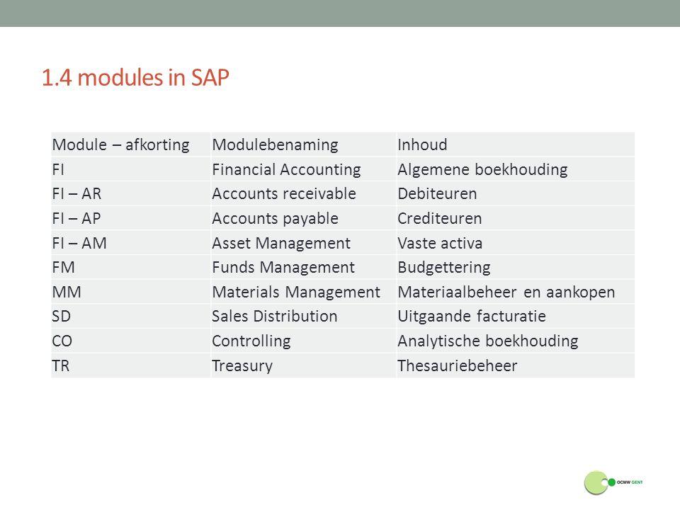 1.4 modules in SAP Module – afkortingModulebenamingInhoud FIFinancial AccountingAlgemene boekhouding FI – ARAccounts receivableDebiteuren FI – APAccou