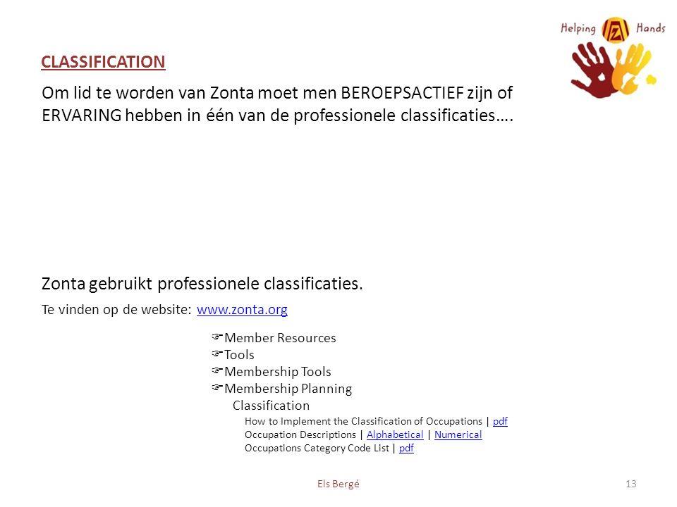 CLASSIFICATION Els Bergé13 Om lid te worden van Zonta moet men BEROEPSACTIEF zijn of ERVARING hebben in één van de professionele classificaties….