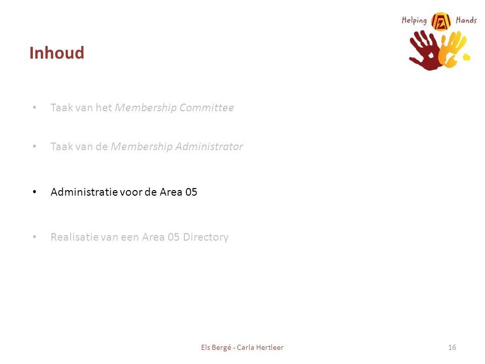 Inhoud Taak van het Membership Committee Taak van de Membership Administrator Administratie voor de Area 05 Realisatie van een Area 05 Directory Els Bergé - Carla Hertleer16