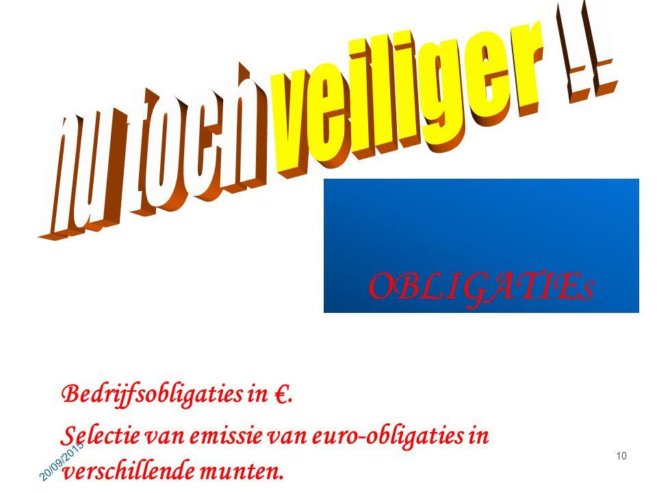 OBLIGATIE S 20/09/2015 10 Bedrijfsobligaties in €. Selectie van emissie van euro-obligaties in verschillende munten.