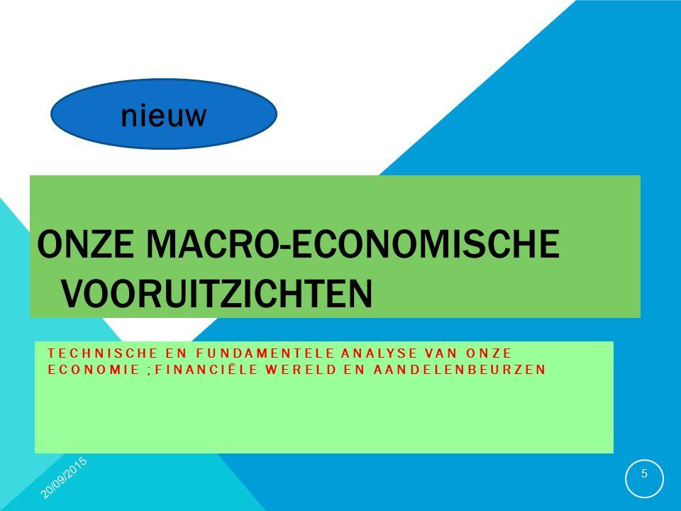 ONZE MACRO-ECONOMISCHE VOORUITZICHTEN TECHNISCHE EN FUNDAMENTELE ANALYSE VAN ONZE ECONOMIE ;FINANCIËLE WERELD EN AANDELENBEURZEN 20/09/2015 5 nieuw