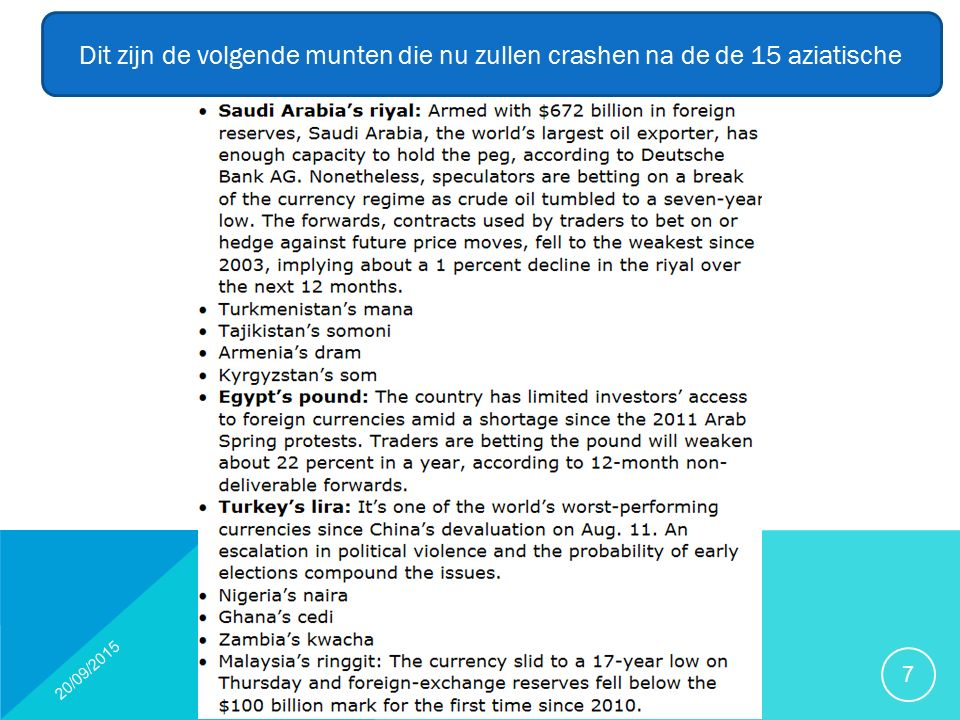 20/09/2015 7 Dit zijn de volgende munten die nu zullen crashen na de de 15 aziatische