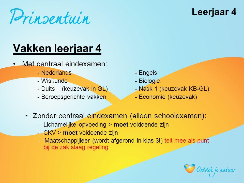 Vakken leerjaar 4 Met centraal eindexamen: - Nederlands- Engels - Wiskunde- Biologie - Duits(keuzevak in GL)- Nask 1 (keuzevak KB-GL) - Beroepsgerichte vakken - Economie (keuzevak) Zonder centraal eindexamen (alleen schoolexamen): -Lichamelijke opvoeding > moet voldoende zijn -CKV > moet voldoende zijn - Maatschappijleer (wordt afgerond in klas 3!) telt mee als punt bij de zak slaag regeling Leerjaar 4