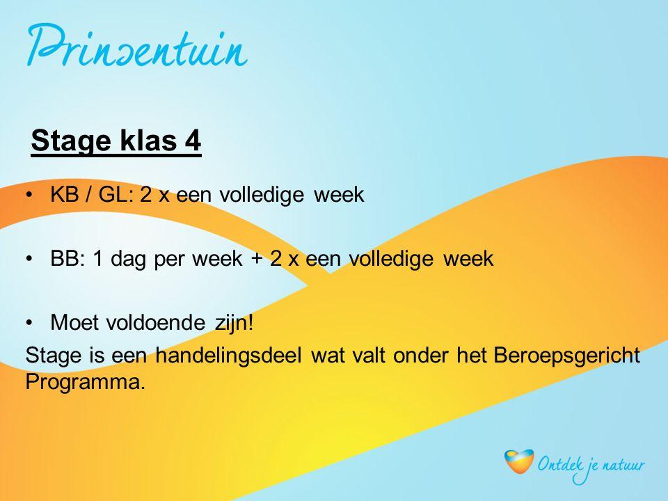 Stage klas 4 KB / GL: 2 x een volledige week BB: 1 dag per week + 2 x een volledige week Moet voldoende zijn.