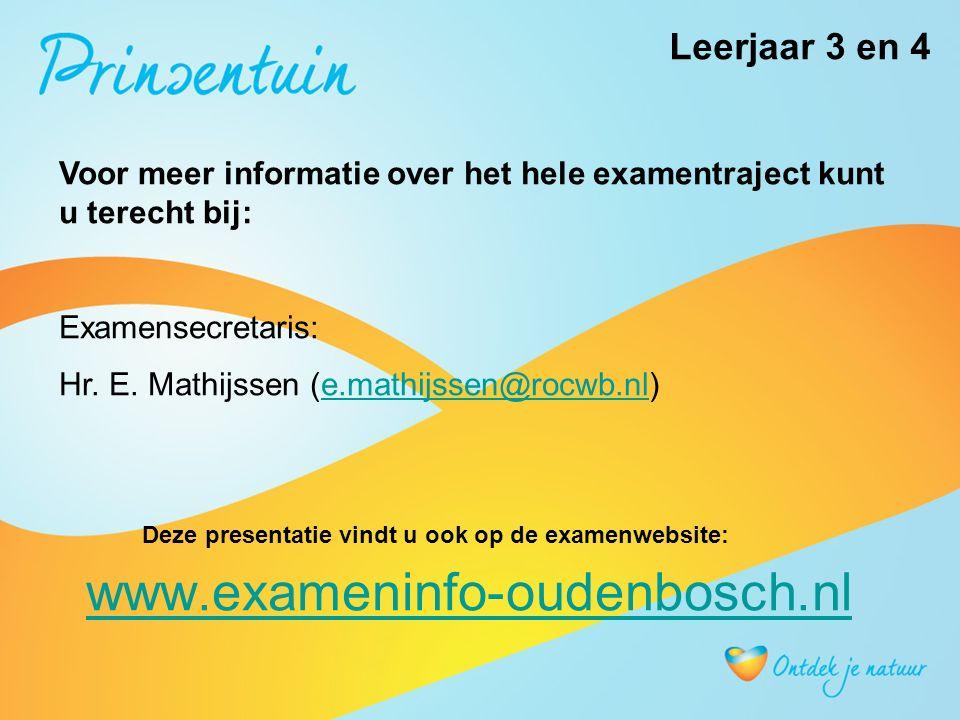 www.exameninfo-oudenbosch.nl Voor meer informatie over het hele examentraject kunt u terecht bij: Examensecretaris: Hr.