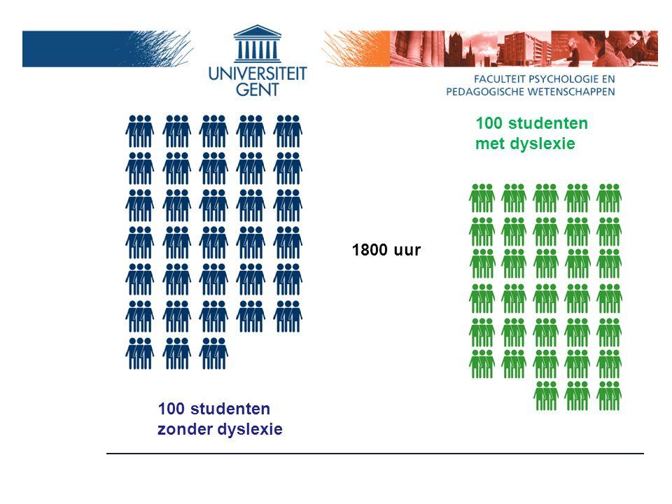 5. Onderzoekspopulatie 100 studenten eerste bachelor met dyslexie uit Associatie Gent doorverwezen door BSH: - hertesting - diagnosticering 100 contro