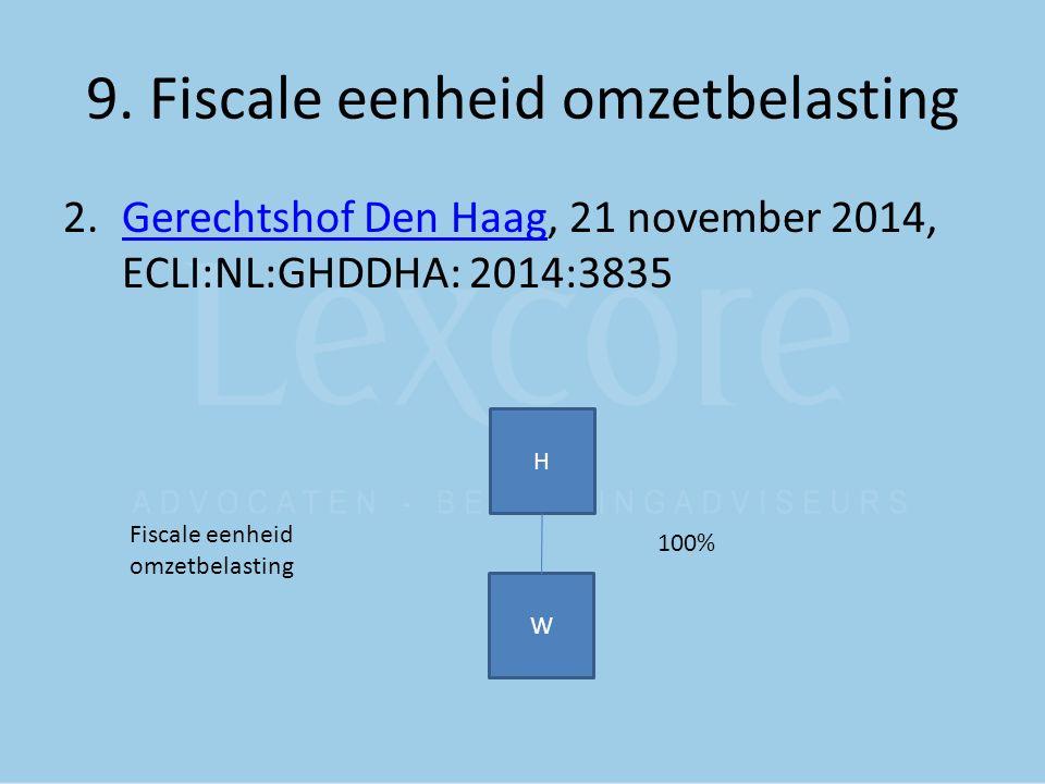 9. Fiscale eenheid omzetbelasting 2.Gerechtshof Den Haag, 21 november 2014, ECLI:NL:GHDDHA: 2014:3835Gerechtshof Den Haag H W 100% Fiscale eenheid omz
