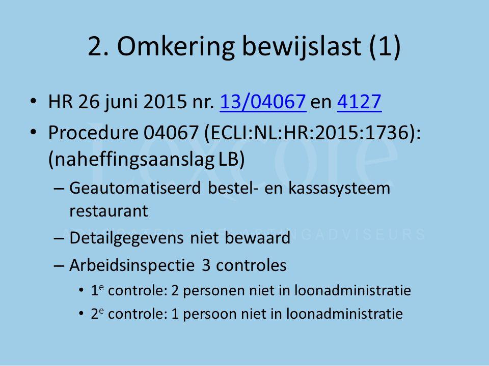 2. Omkering bewijslast (1) HR 26 juni 2015 nr. 13/04067 en 412713/040674127 Procedure 04067 (ECLI:NL:HR:2015:1736): (naheffingsaanslag LB) – Geautomat