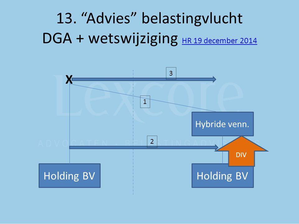 "13. ""Advies"" belastingvlucht DGA + wetswijziging HR 19 december 2014 HR 19 december 2014 Holding BV X Hybride venn. 1 3 2 Holding BV DIV"