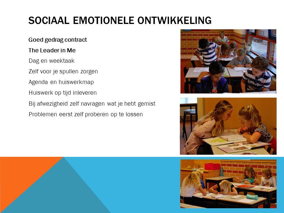 SOCIAAL EMOTIONELE ONTWIKKELING Goed gedrag contract The Leader in Me Dag en weektaak Zelf voor je spullen zorgen Agenda en huiswerkmap Huiswerk op ti