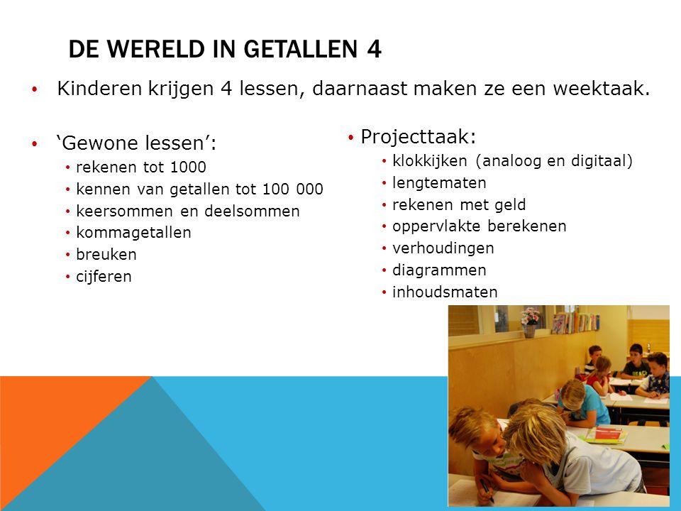 DE WERELD IN GETALLEN 4 Kinderen krijgen 4 lessen, daarnaast maken ze een weektaak. 'Gewone lessen': rekenen tot 1000 kennen van getallen tot 100 000