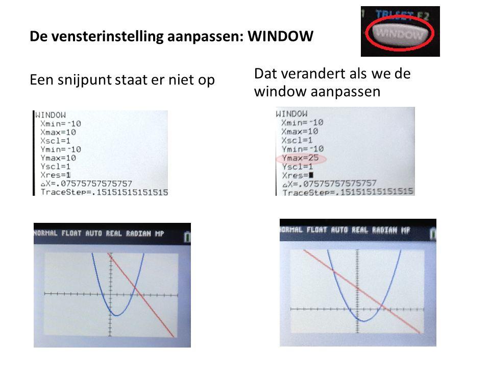 De vensterinstelling aanpassen: WINDOW Een snijpunt staat er niet op Dat verandert als we de window aanpassen
