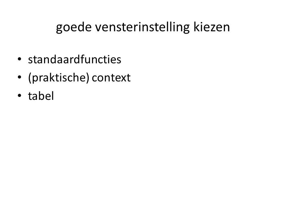 goede vensterinstelling kiezen standaardfuncties (praktische) context tabel