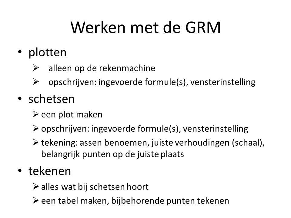 Werken met de GRM plotten  alleen op de rekenmachine  opschrijven: ingevoerde formule(s), vensterinstelling schetsen  een plot maken  opschrijven: