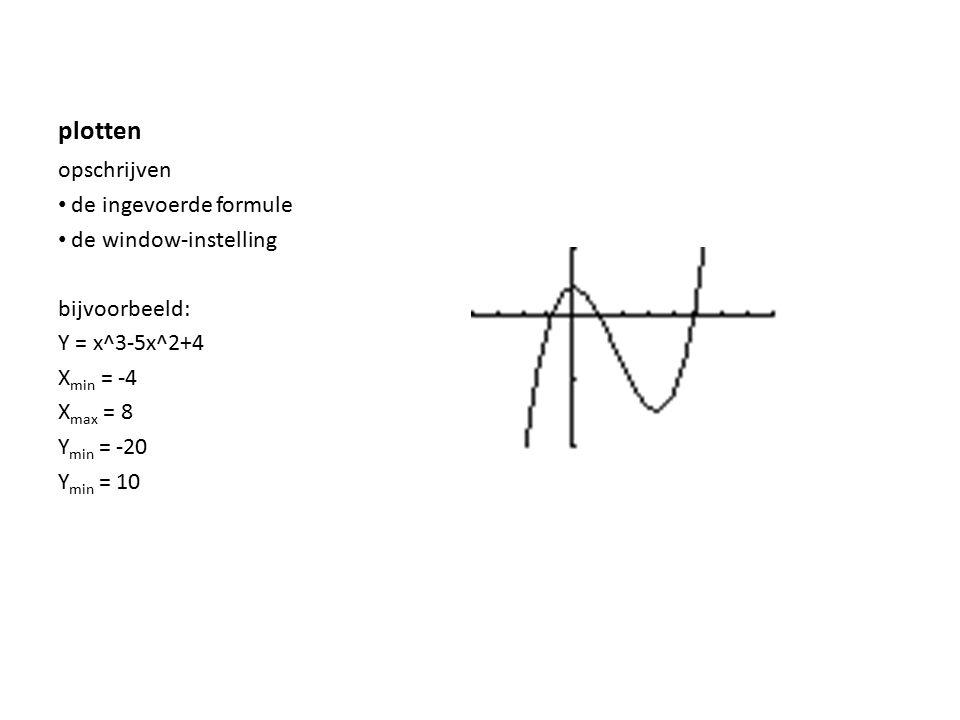 plotten opschrijven de ingevoerde formule de window-instelling bijvoorbeeld: Y = x^3-5x^2+4 X min = -4 X max = 8 Y min = -20 Y min = 10
