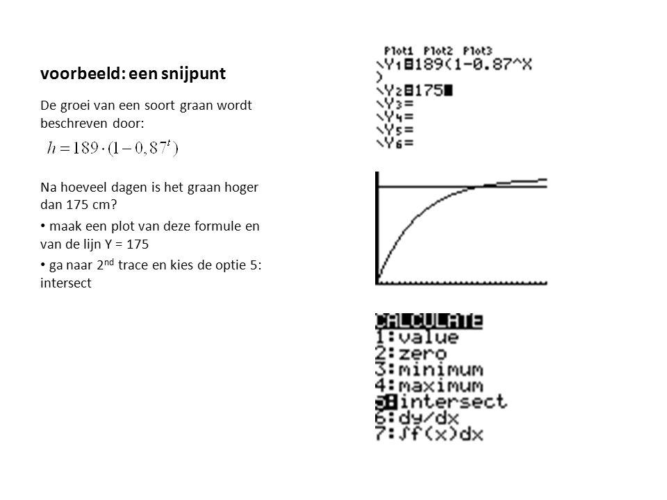 voorbeeld: een snijpunt De groei van een soort graan wordt beschreven door: Na hoeveel dagen is het graan hoger dan 175 cm? maak een plot van deze for