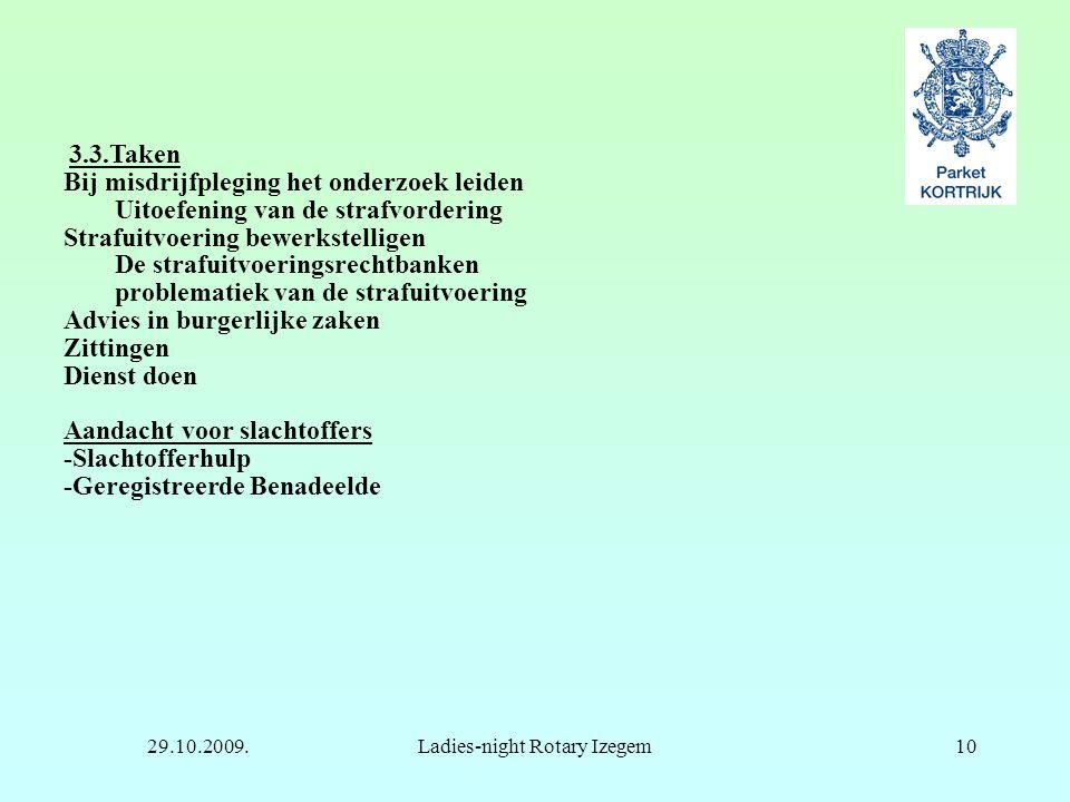 29.10.2009.Ladies-night Rotary Izegem10 3.3.Taken Bij misdrijfpleging het onderzoek leiden Uitoefening van de strafvordering Strafuitvoering bewerkste