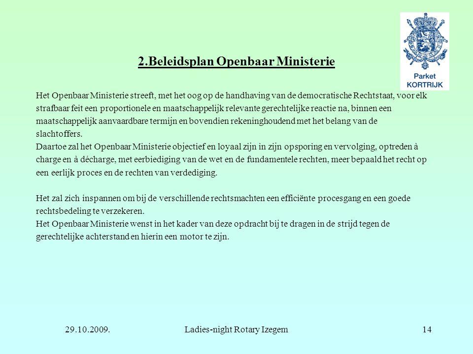 29.10.2009.Ladies-night Rotary Izegem14 2.Beleidsplan Openbaar Ministerie Het Openbaar Ministerie streeft, met het oog op de handhaving van de democra