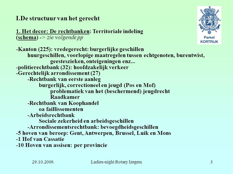 29.10.2009.Ladies-night Rotary Izegem3 I.De structuur van het gerecht 1. Het decor: De rechtbanken: Territoriale indeling (schema) -> zie volgende pp