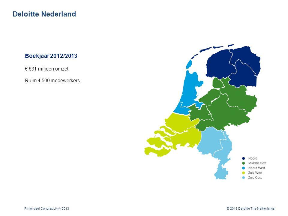 © 2013 Deloitte The Netherlands Deloitte Nederland Boekjaar 2012/2013 € 631 miljoen omzet Ruim 4.500 medewerkers Financieel Congres LKvV 2013