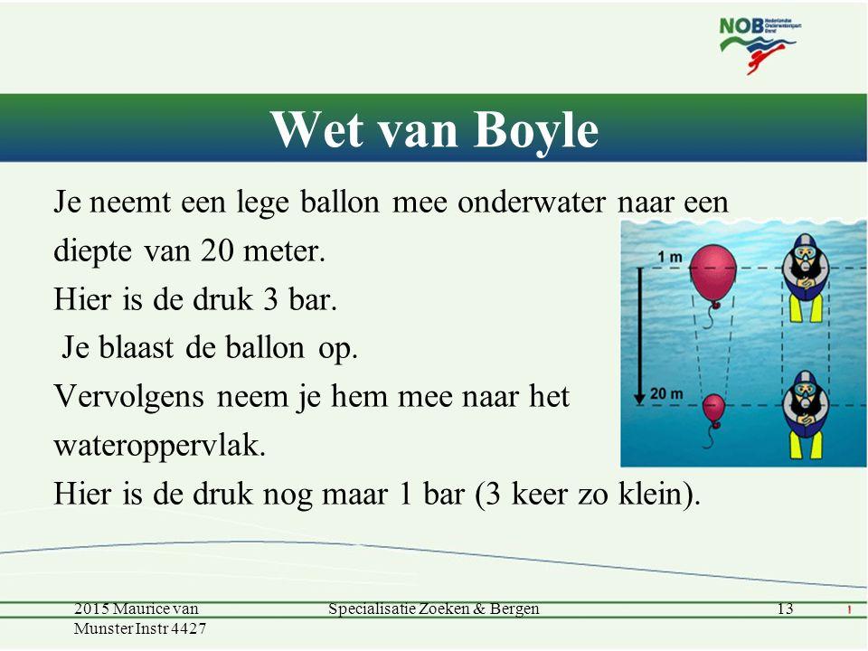 Wet van Boyle Je neemt een lege ballon mee onderwater naar een diepte van 20 meter. Hier is de druk 3 bar. Je blaast de ballon op. Vervolgens neem je