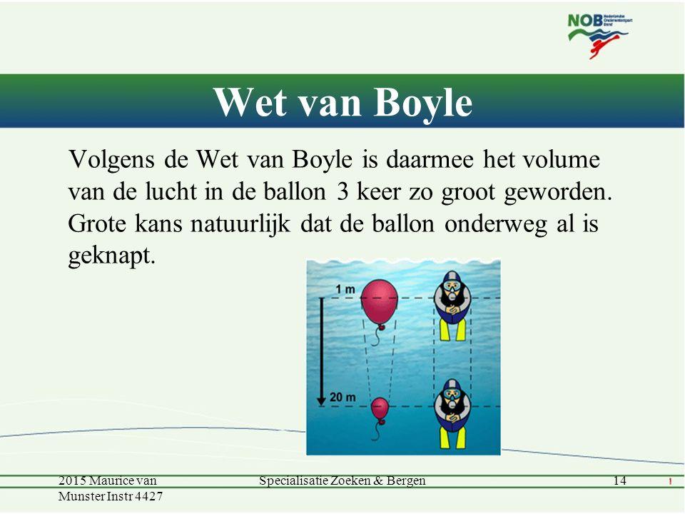 Wet van Boyle Volgens de Wet van Boyle is daarmee het volume van de lucht in de ballon 3 keer zo groot geworden. Grote kans natuurlijk dat de ballon o