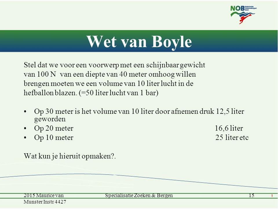 Wet van Boyle Stel dat we voor een voorwerp met een schijnbaar gewicht van 100 N van een diepte van 40 meter omhoog willen brengen moeten we een volum