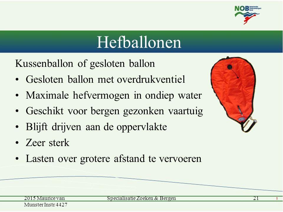 Kussenballon of gesloten ballon Gesloten ballon met overdrukventiel Maximale hefvermogen in ondiep water Geschikt voor bergen gezonken vaartuig Blijft