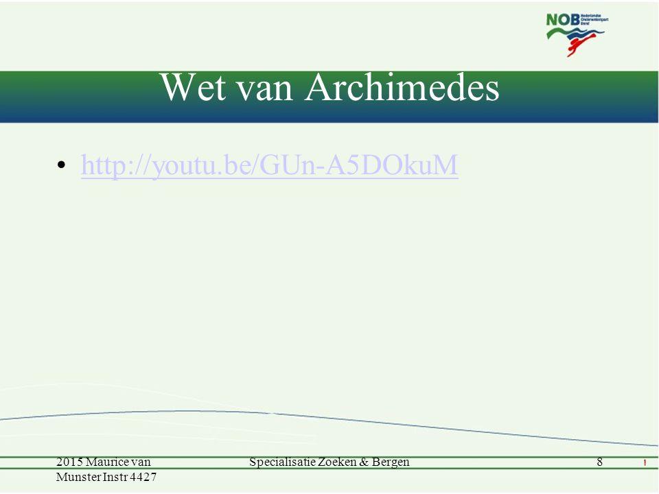 Wet van Archimedes 2015 Maurice van Munster Instr 4427 Specialisatie Zoeken & Bergen8 http://youtu.be/GUn-A5DOkuM
