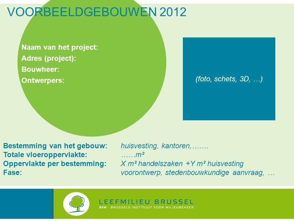 VOORBEELDGEBOUWEN 2012 Naam van het project: Adres (project): Bouwheer: Ontwerpers: Bestemming van het gebouw: huisvesting, kantoren,…….