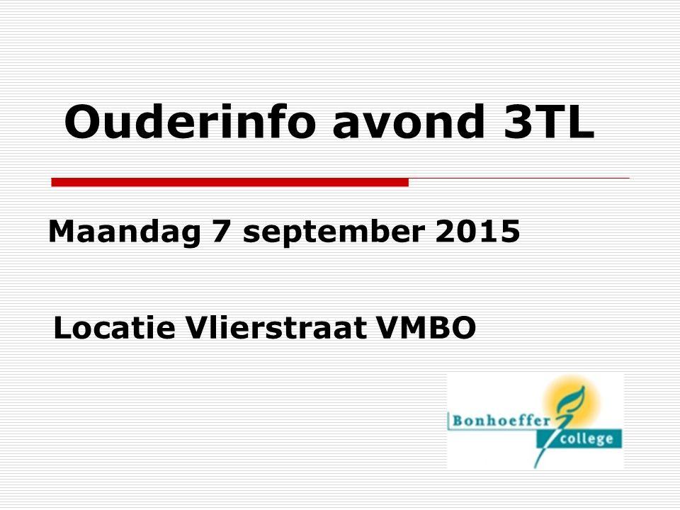 Ouderinfo avond 3TL Maandag 7 september 2015 Locatie Vlierstraat VMBO
