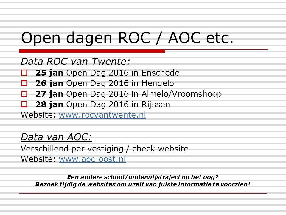 Open dagen ROC / AOC etc.