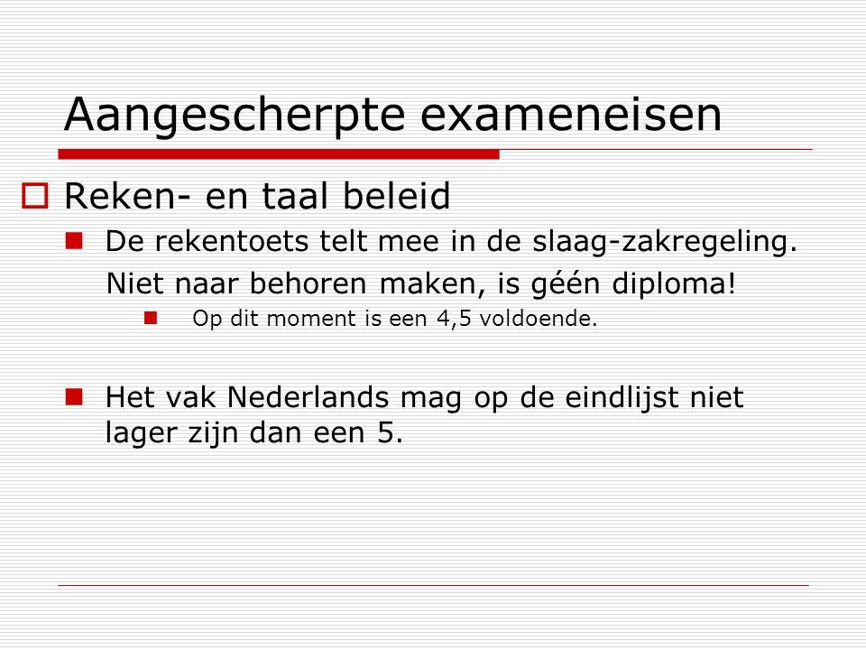 Aangescherpte exameneisen  Reken- en taal beleid De rekentoets telt mee in de slaag-zakregeling.
