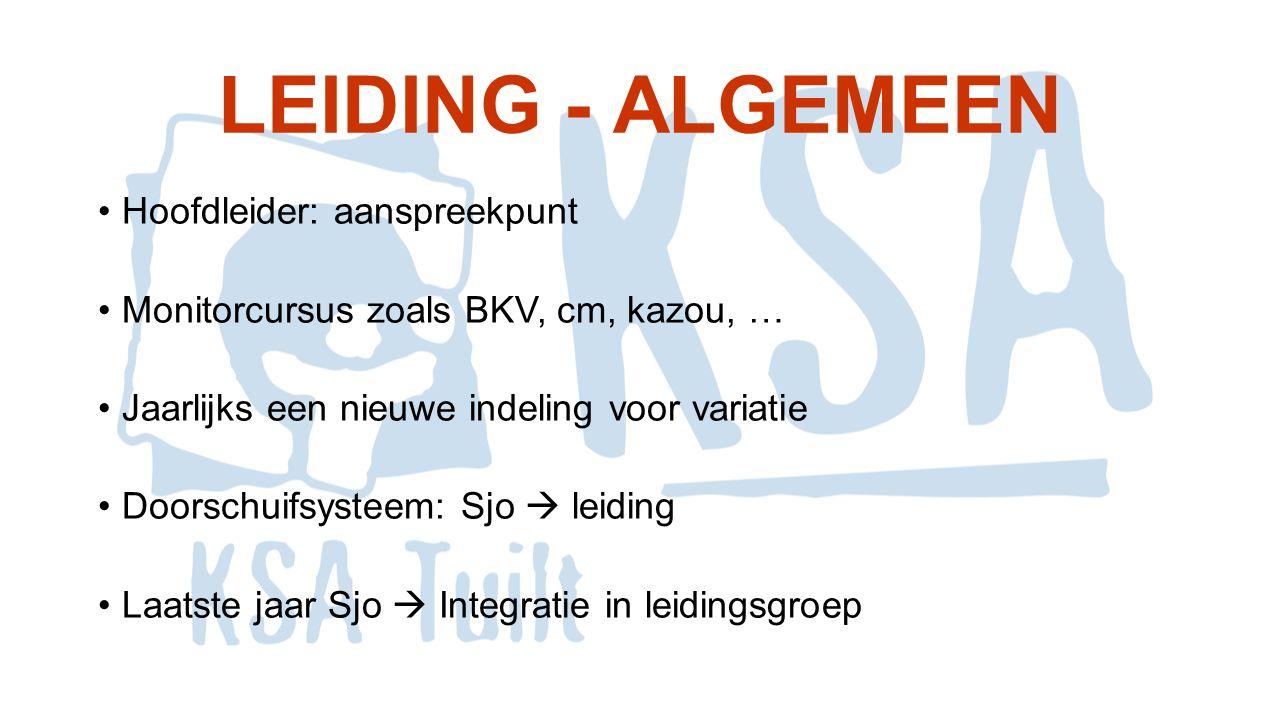 LEIDING - ALGEMEEN Hoofdleider: aanspreekpunt Monitorcursus zoals BKV, cm, kazou, … Jaarlijks een nieuwe indeling voor variatie Doorschuifsysteem: Sjo