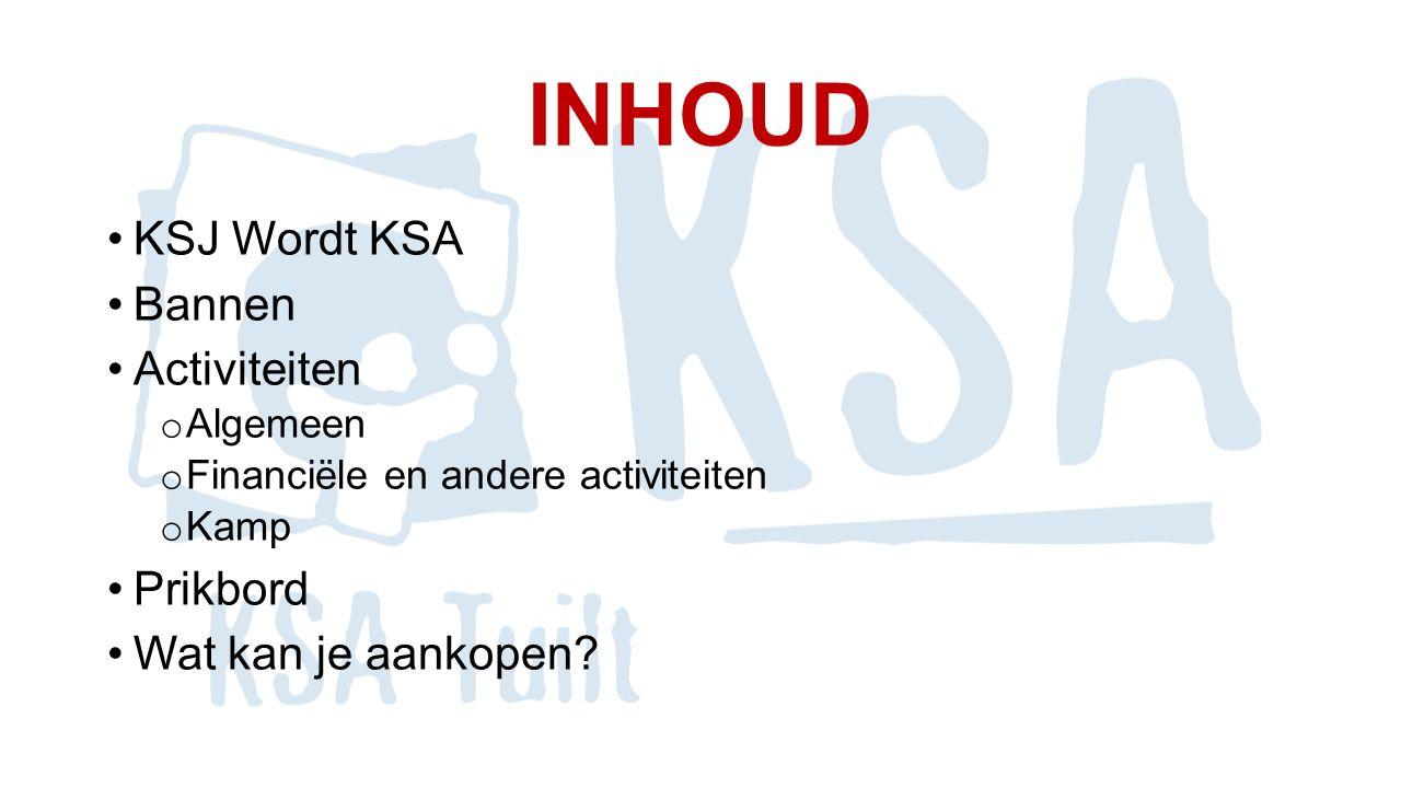 INHOUD Leiding o De indeling + hoofdleiders o Algemeen Lidgeld Startdag KSA TUILT online !