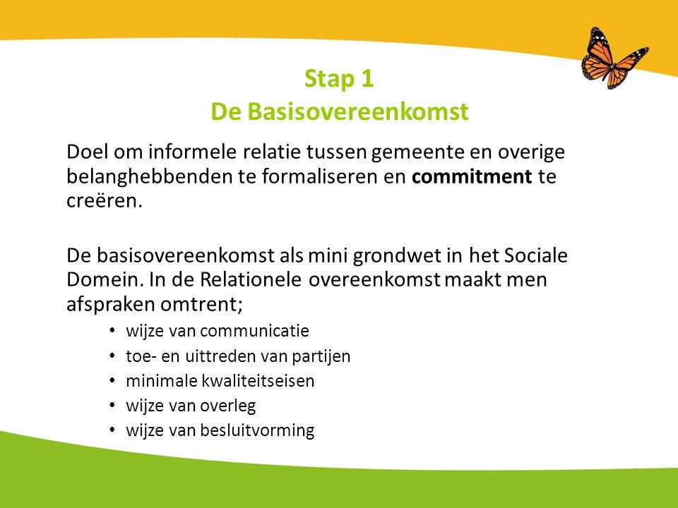 Stap 1 De Basisovereenkomst Doel om informele relatie tussen gemeente en overige belanghebbenden te formaliseren en commitment te creëren.