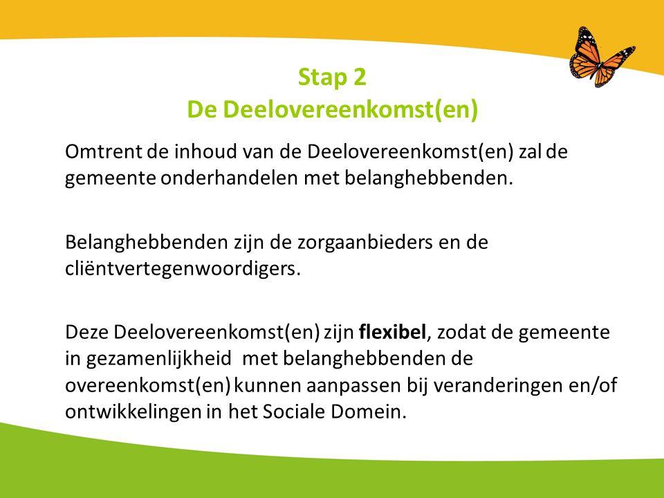 Stap 2 De Deelovereenkomst(en) Omtrent de inhoud van de Deelovereenkomst(en) zal de gemeente onderhandelen met belanghebbenden.