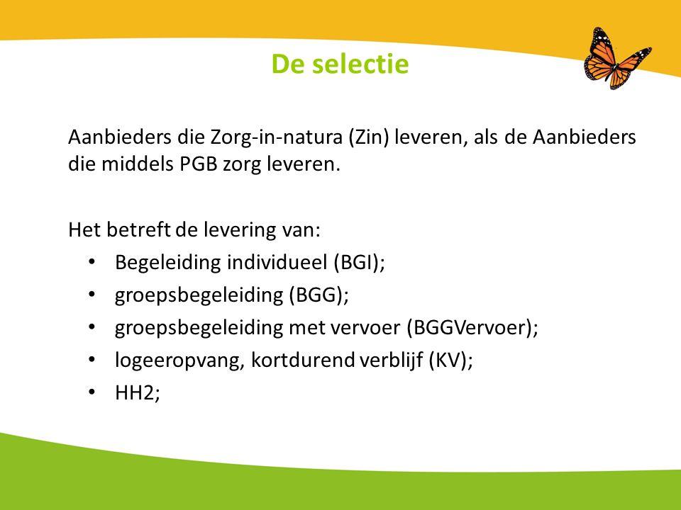 De selectie Aanbieders die Zorg-in-natura (Zin) leveren, als de Aanbieders die middels PGB zorg leveren.