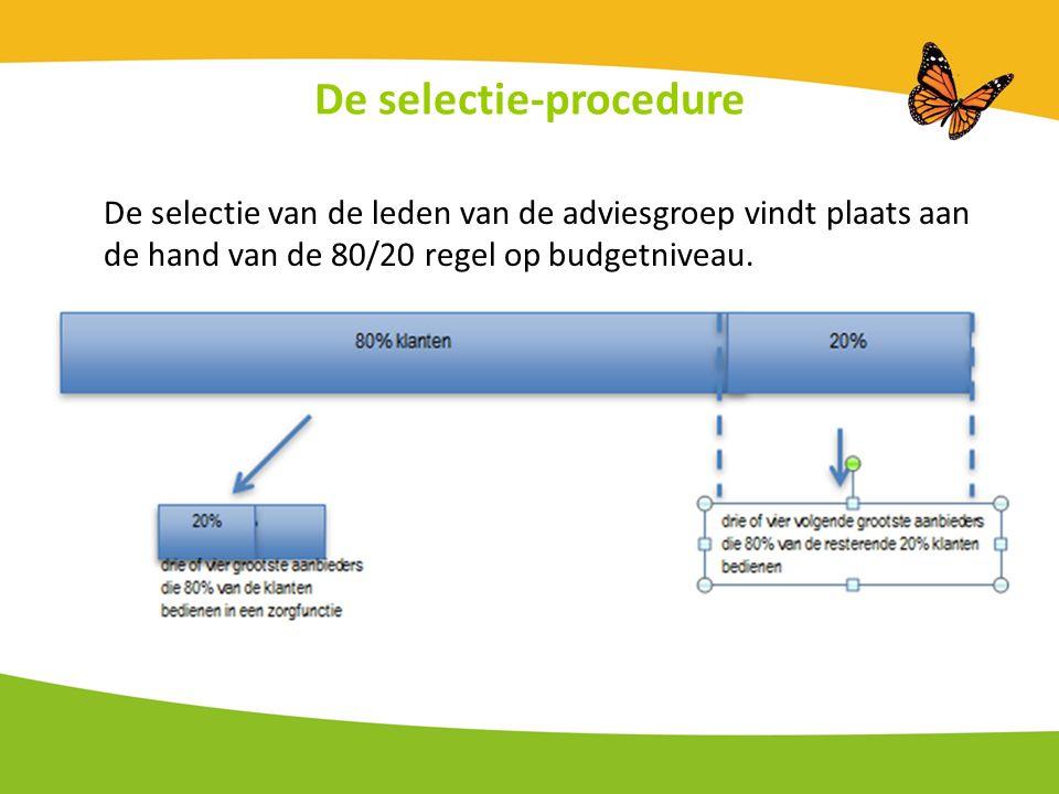 De selectie-procedure De selectie van de leden van de adviesgroep vindt plaats aan de hand van de 80/20 regel op budgetniveau.