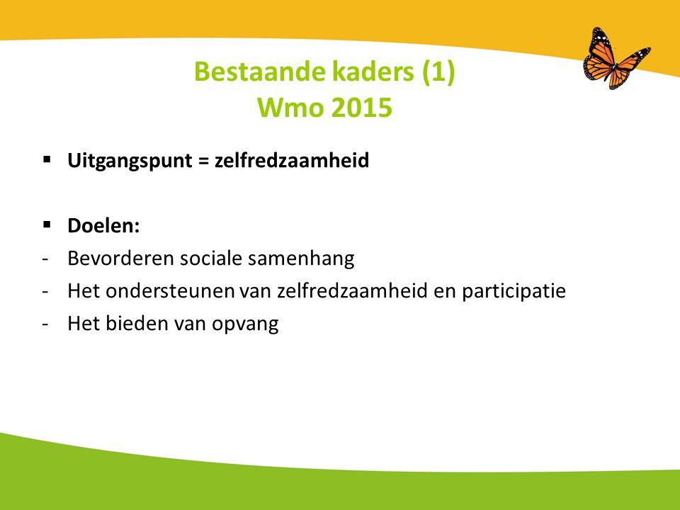 Bestaande kaders (1) Wmo 2015  Uitgangspunt = zelfredzaamheid  Doelen: -Bevorderen sociale samenhang -Het ondersteunen van zelfredzaamheid en participatie -Het bieden van opvang