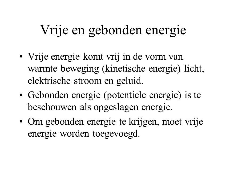 Vrije en gebonden energie Vrije energie komt vrij in de vorm van warmte beweging (kinetische energie) licht, elektrische stroom en geluid.