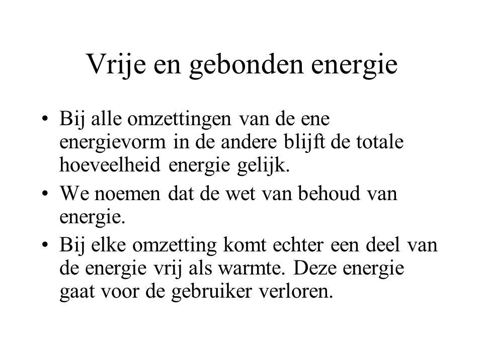 Vrije en gebonden energie Vrije energie komt vrij in de vorm van warmte beweging (kinetische energie) licht, elektrische stroom en geluid. Gebonden en