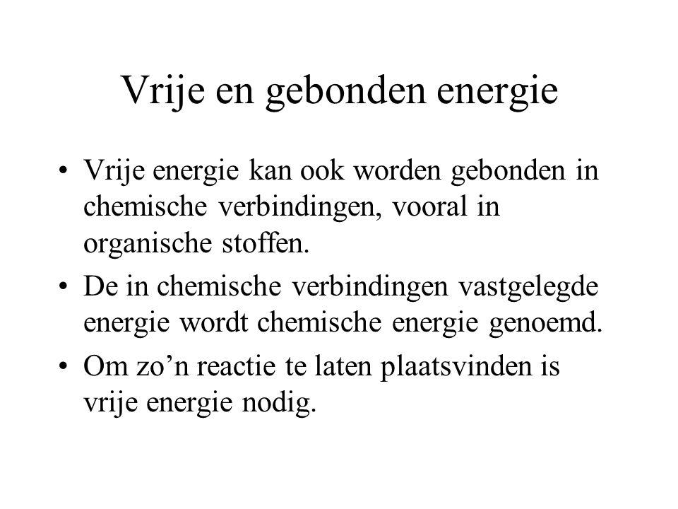 Vrije en gebonden energie Vrije energie kan ook worden gebonden in chemische verbindingen, vooral in organische stoffen.