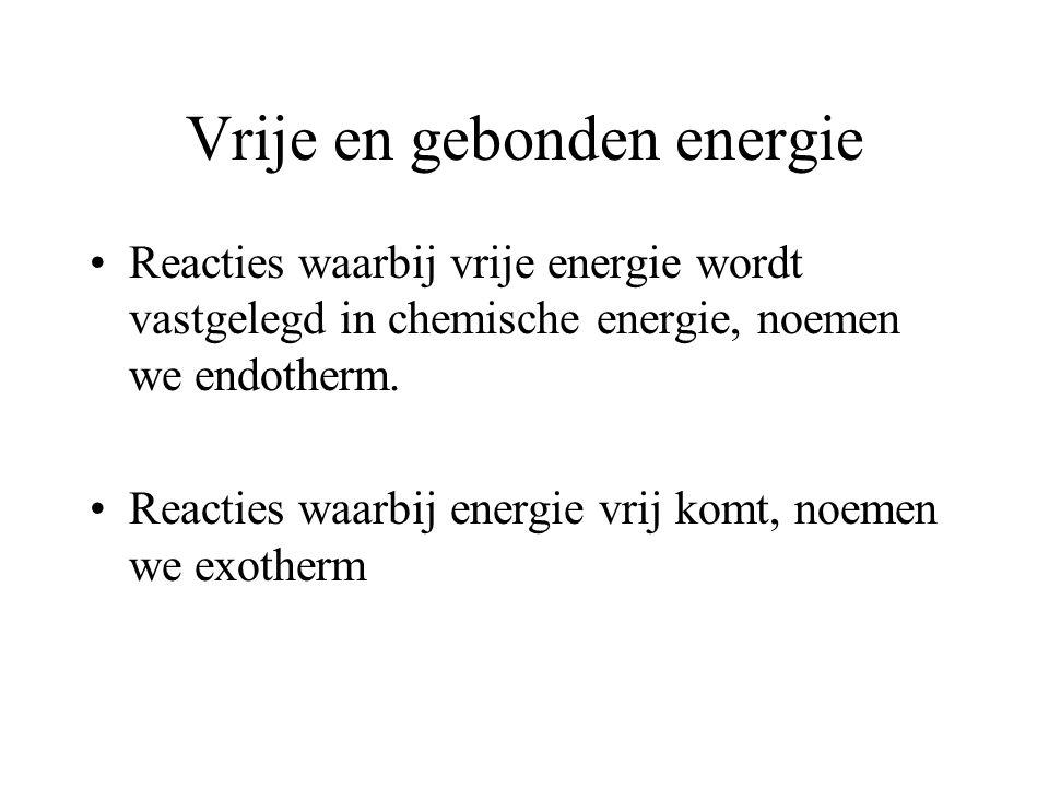 Vrije en gebonden energie Vrije energie kan ook worden gebonden in chemische verbindingen, vooral in organische stoffen. De in chemische verbindingen