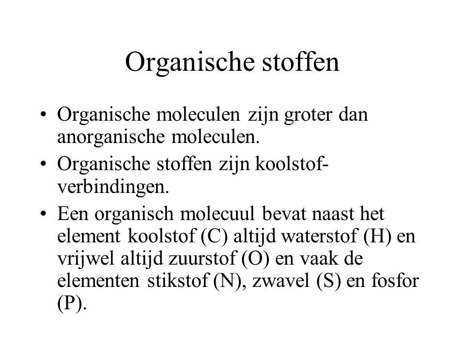 Organische stoffen Organische moleculen zijn groter dan anorganische moleculen.